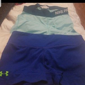 Nike pro and under armour running shorts